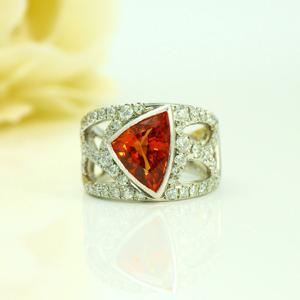 スペサルティンガーネットダイヤモンドプラチナリング2