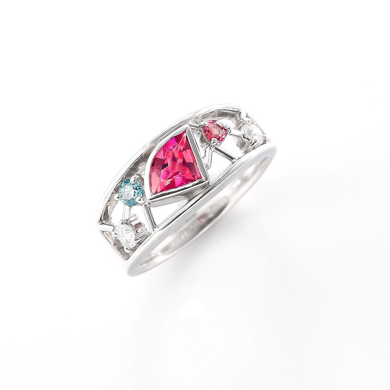 ピンクトルマリンとダイヤモンドのリング 01