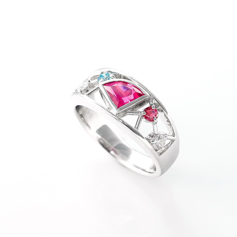ピンクトルマリンとダイヤモンドのリング 02