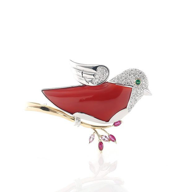 血赤珊瑚鳥のブローチ04