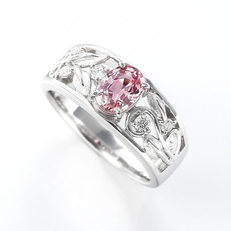 サファイアとダイヤモンドのプラチナリング