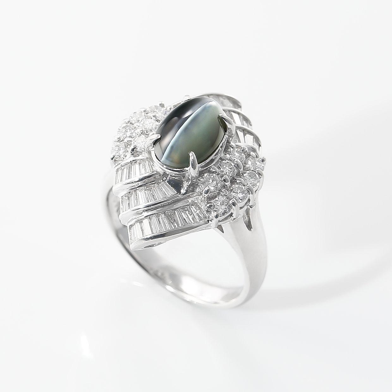 アレキサンドライトキャッツアイとダイヤモンドのリング 01