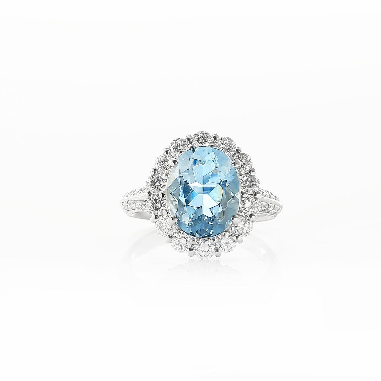 オーバル取巻きダイヤのアクアマリンリング01