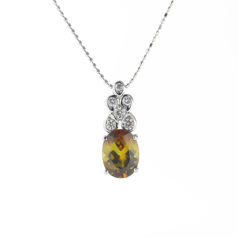 スフェーンとダイヤモンドのネックレス 01