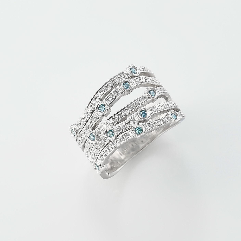 ブルーダイヤを散りばめた星空のリング01