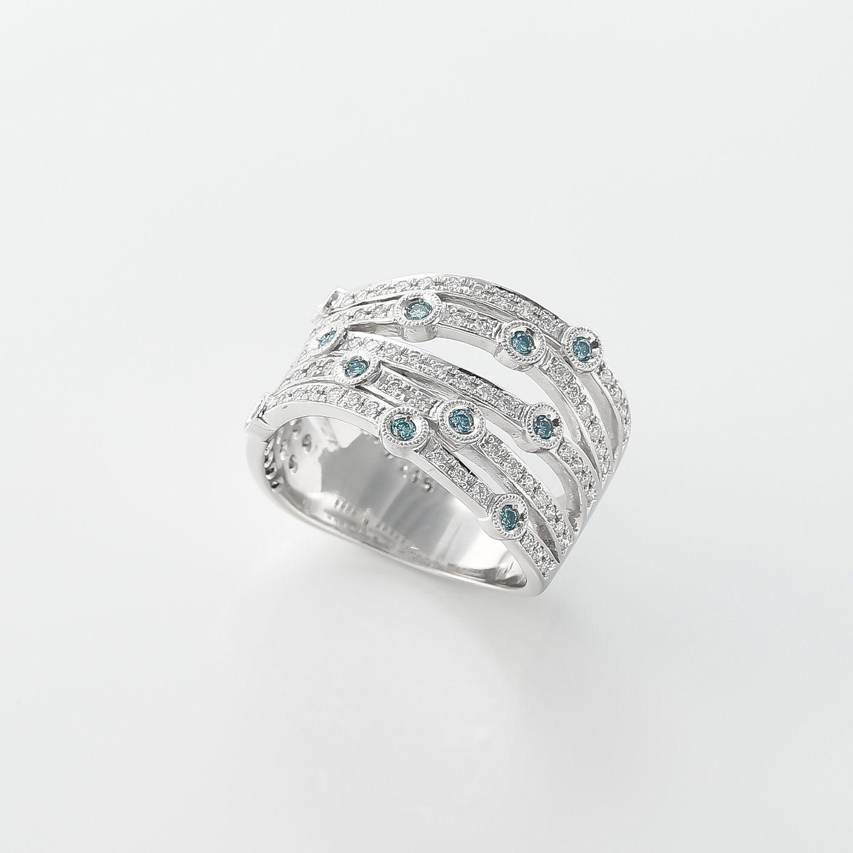 ブルーダイヤを散りばめた星空のリング02