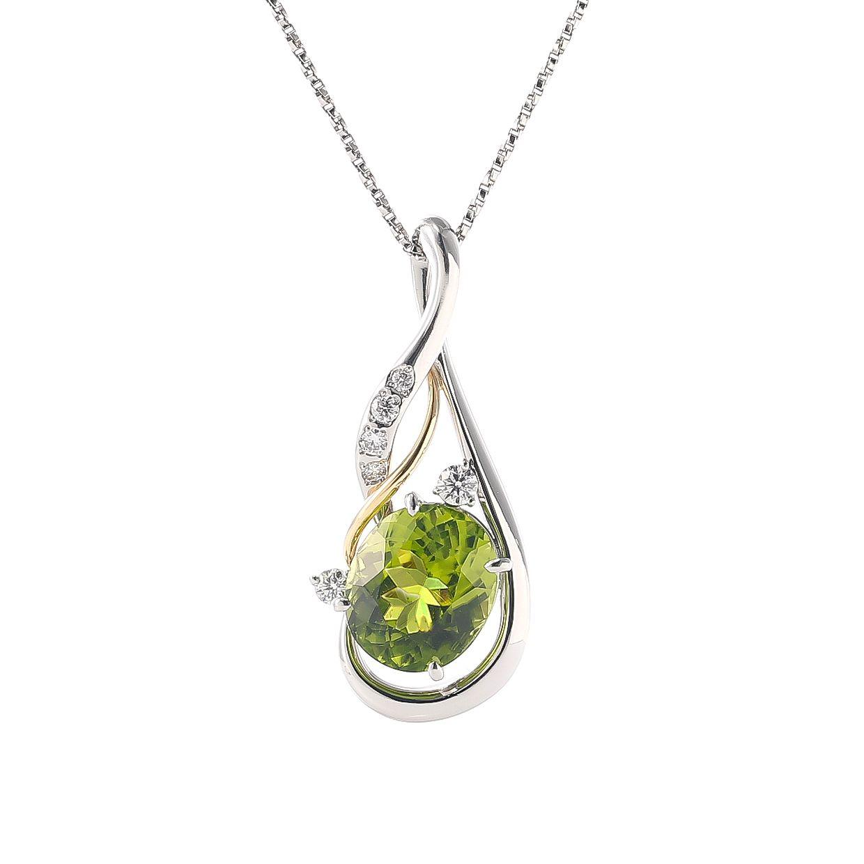 ペリドットとダイヤモンドのネックレス 01