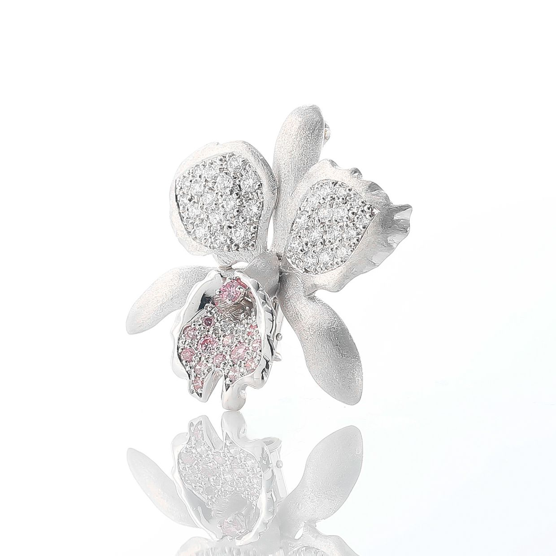 天然のピンクダイヤをあしらった華麗なカトレアのペンダントブローチ02