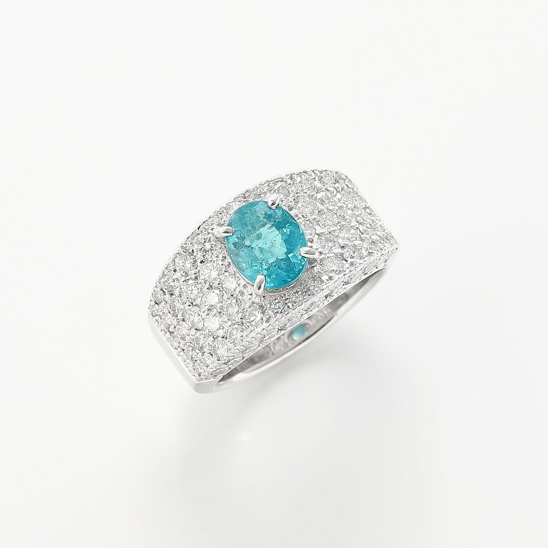 パライバトルマリンとダイヤモンドのリング 01