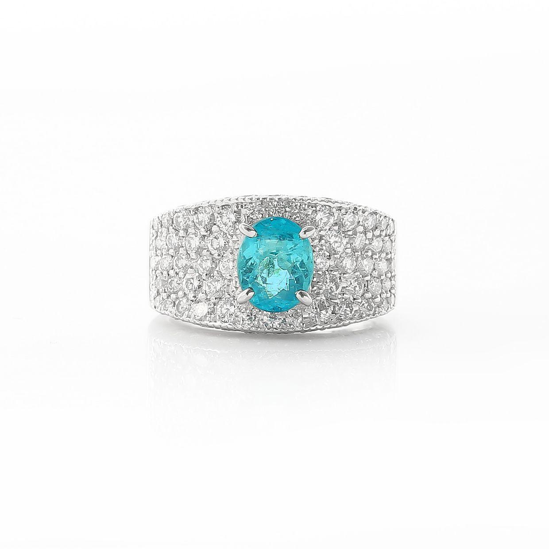 パライバトルマリンとダイヤモンドのリング 02