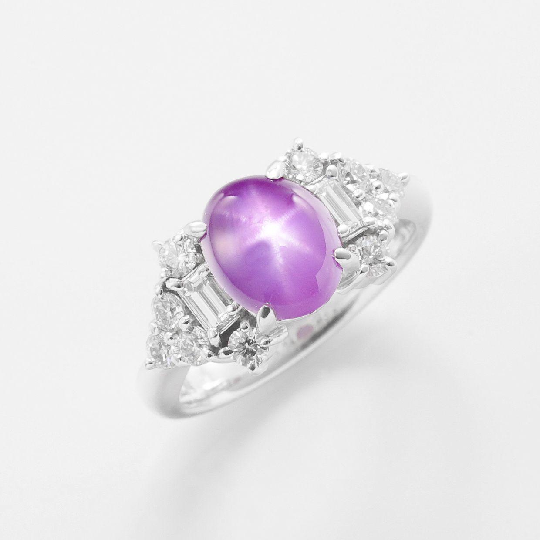 パープルスターサファイアとダイヤモンドのリング 01