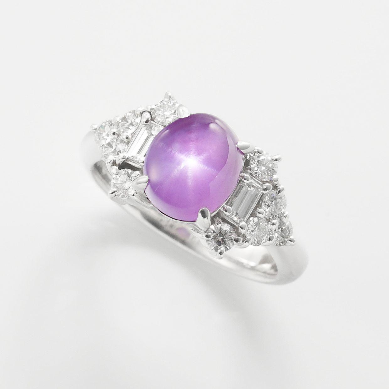 パープルスターサファイアとダイヤモンドのリング 02