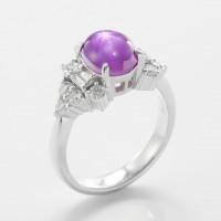 パープルスターサファイアとダイヤモンドのリング 03