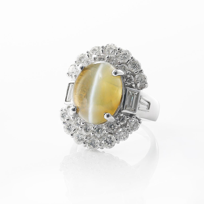 圧倒的なキャッツアイとダイヤモンドのリング 02