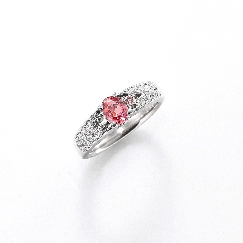 パパラチアサファイアとダイヤモンドリング 01