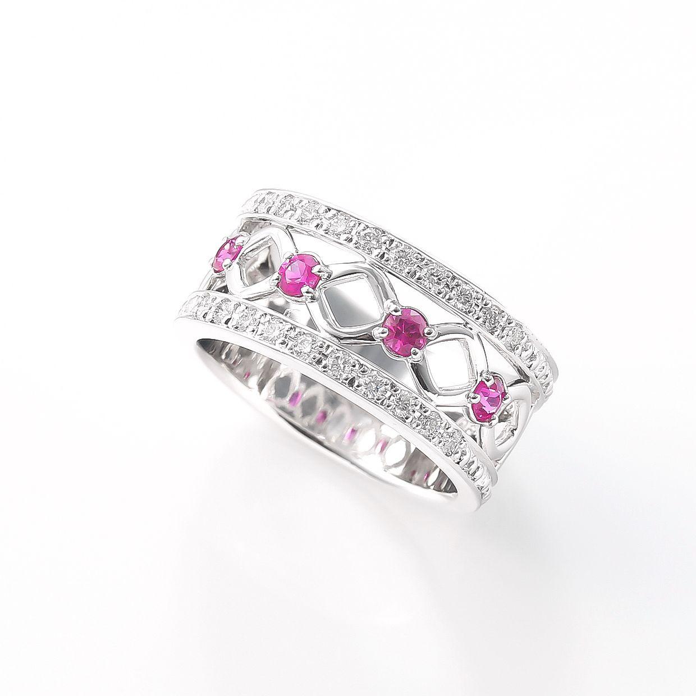 ピンクサファイアとダイヤモンドのリング 01