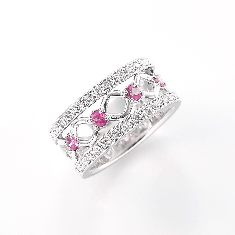 ピンクサファイアとダイヤモンドのリング 02