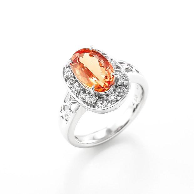 インペリアルトパーズとダイヤモンドのリング01