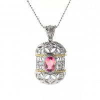 ピンクトルマリンとダイヤモンドのネックレス01