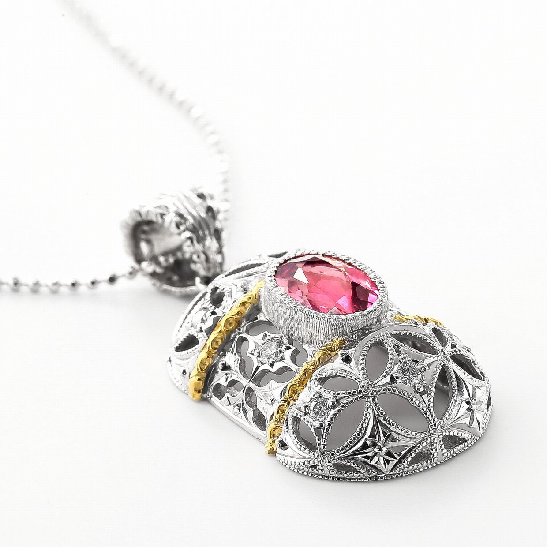 ピンクトルマリンとダイヤモンドのネックレス02