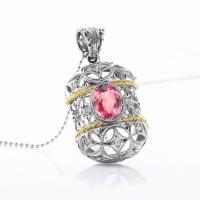 ピンクトルマリンとダイヤモンドのネックレス03