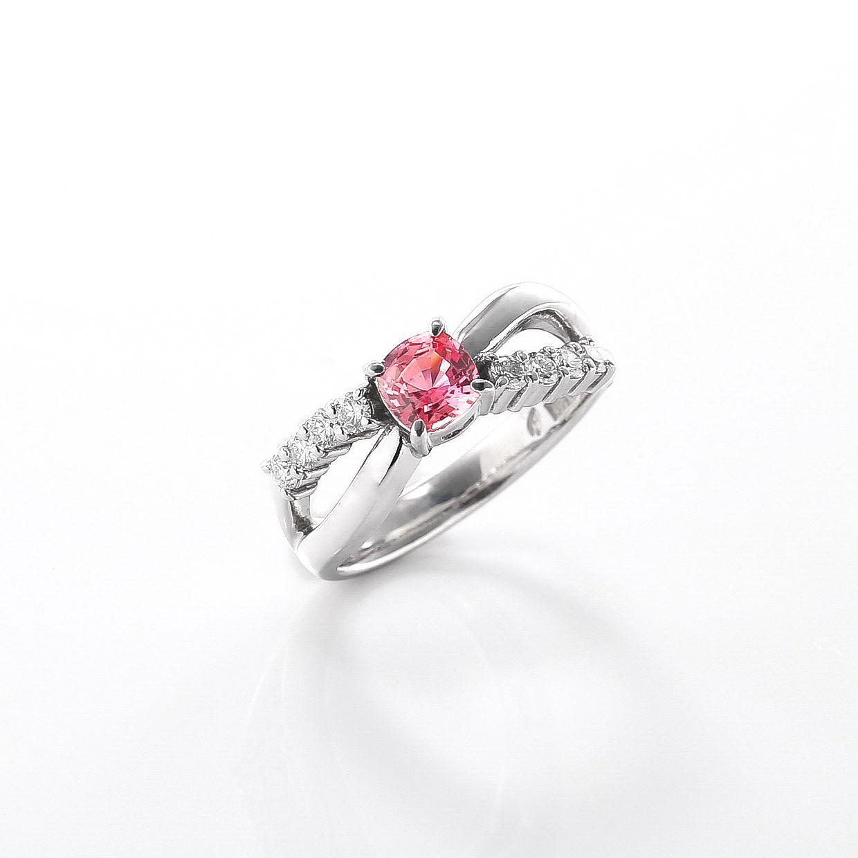 パパラチアサファイアとダイヤモンドのリング02