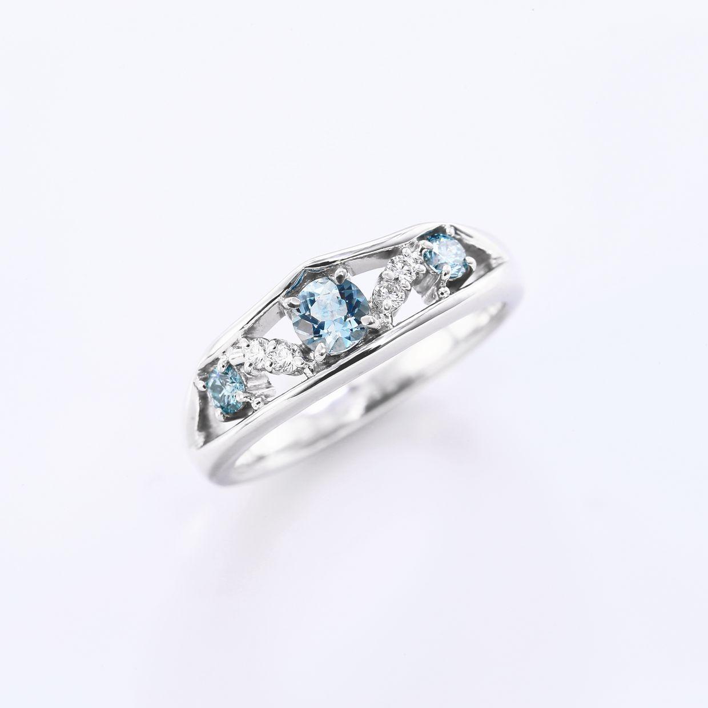 アクアマリンとダイヤモンドのリング01