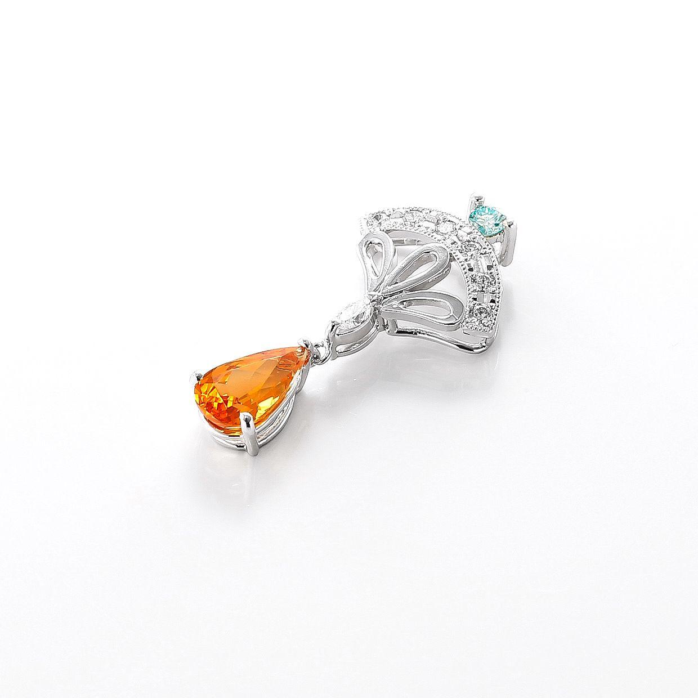 マンダリンガーネットとブルーダイヤのペンダント01