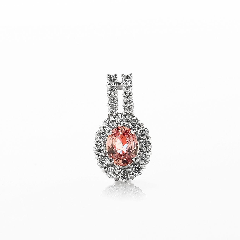 パパラチアとダイヤモンドのネックレス01