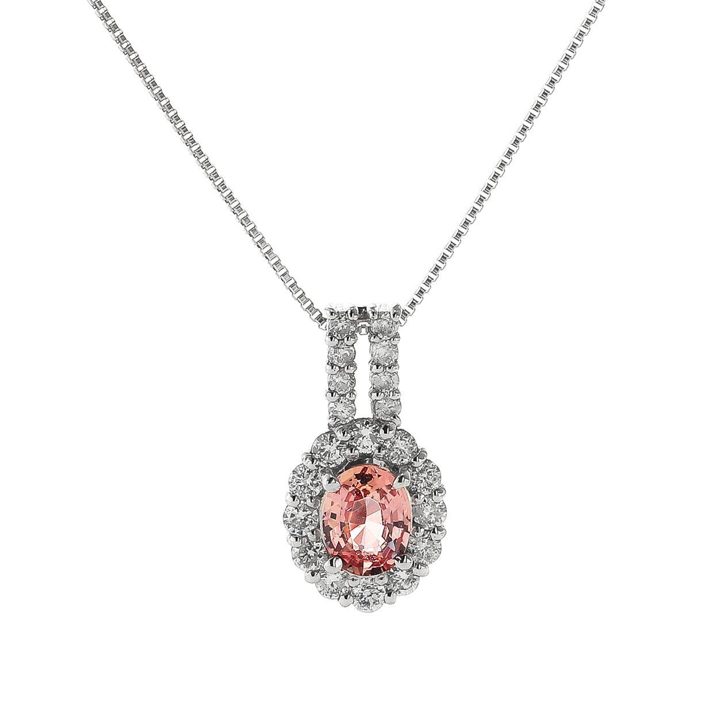 パパラチアとダイヤモンドのネックレス02