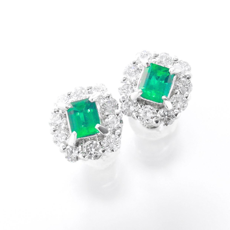 エメラルドとダイヤモンドのピアス01