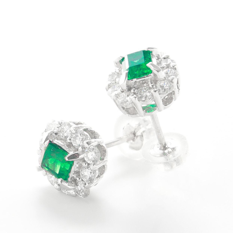 エメラルドとダイヤモンドのピアス02