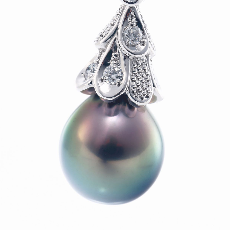 黒蝶真珠とダイヤモンドのペンダント01