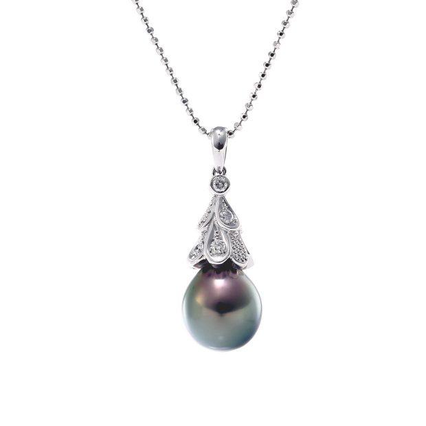 黒蝶真珠とダイヤモンドのペンダント04