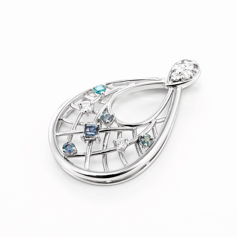 アレキサンドライトとダイヤモンドのペンダントネックレス01