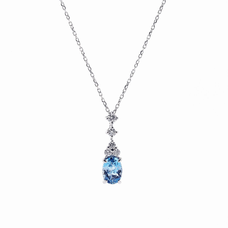 アクアマリンとダイヤモンドのネックレス01