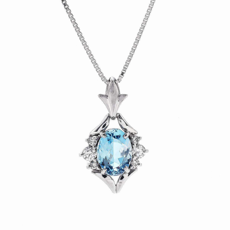 アクアマリンとダイヤモンドのペンダント01