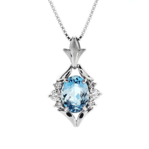 アクアマリンとダイヤモンドのペンダント04