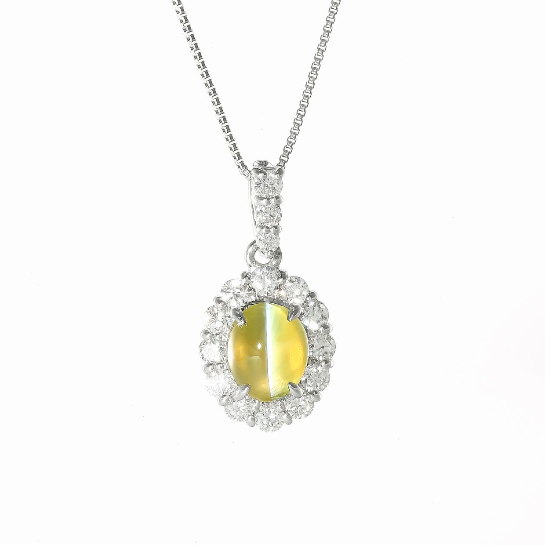キャッツアイとダイヤモンドのペンダントネックレス01