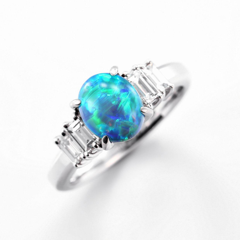 ブラックオパールとダイヤモンドのリング01
