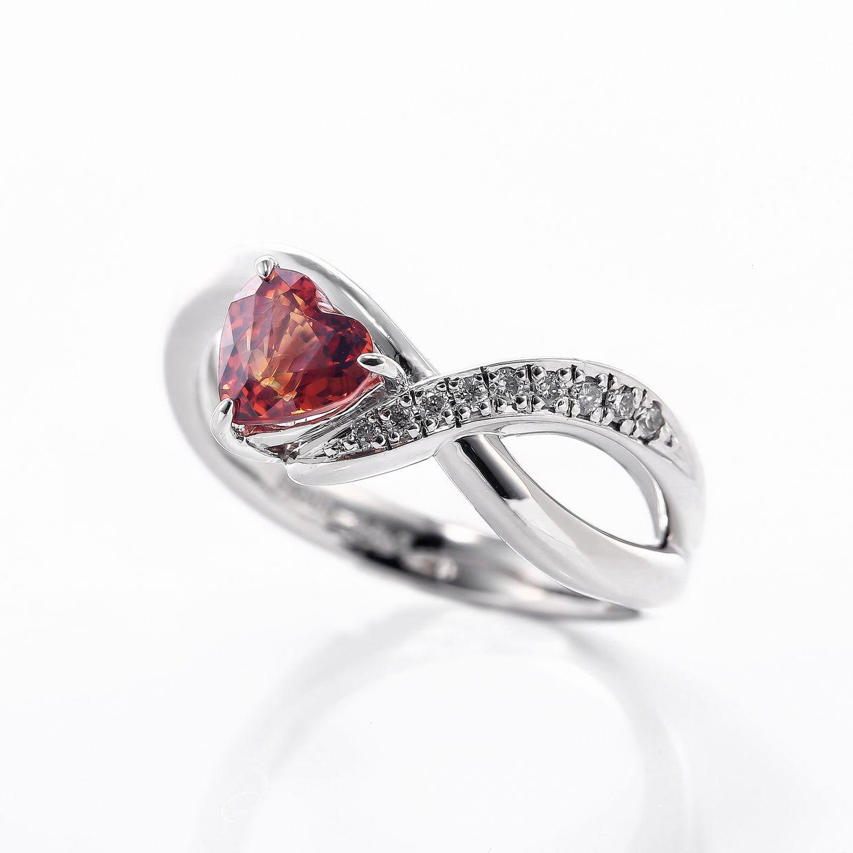 スペサルティンガーネットとダイヤモンドのリング01