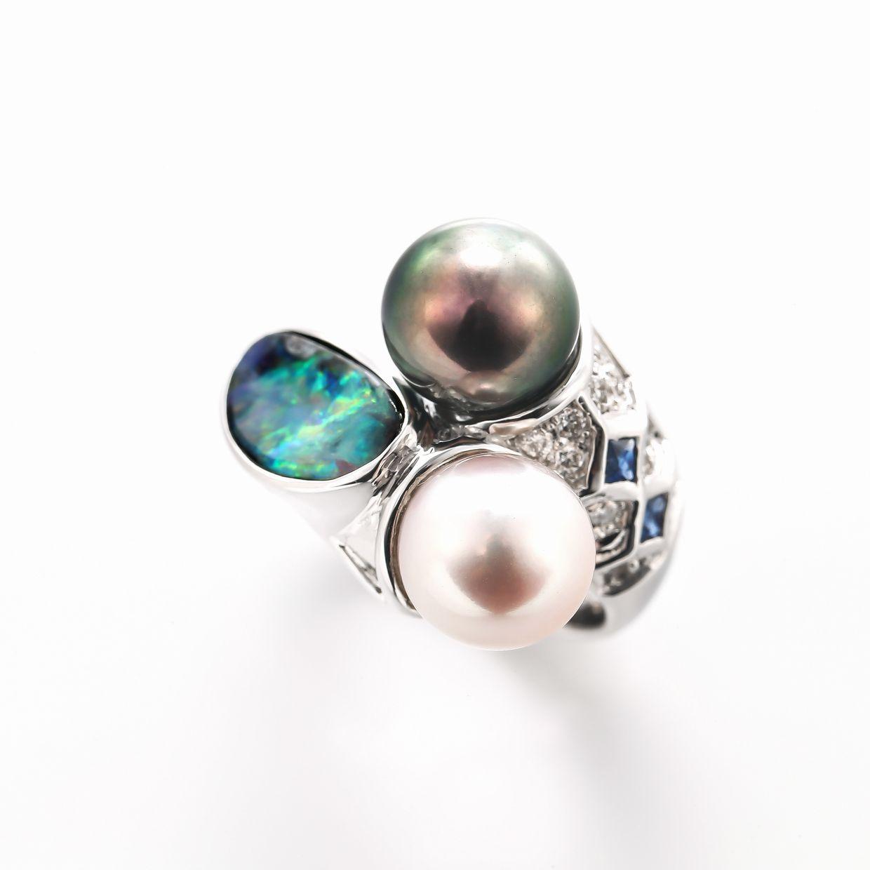 オパールとパール(真珠)のリング 01