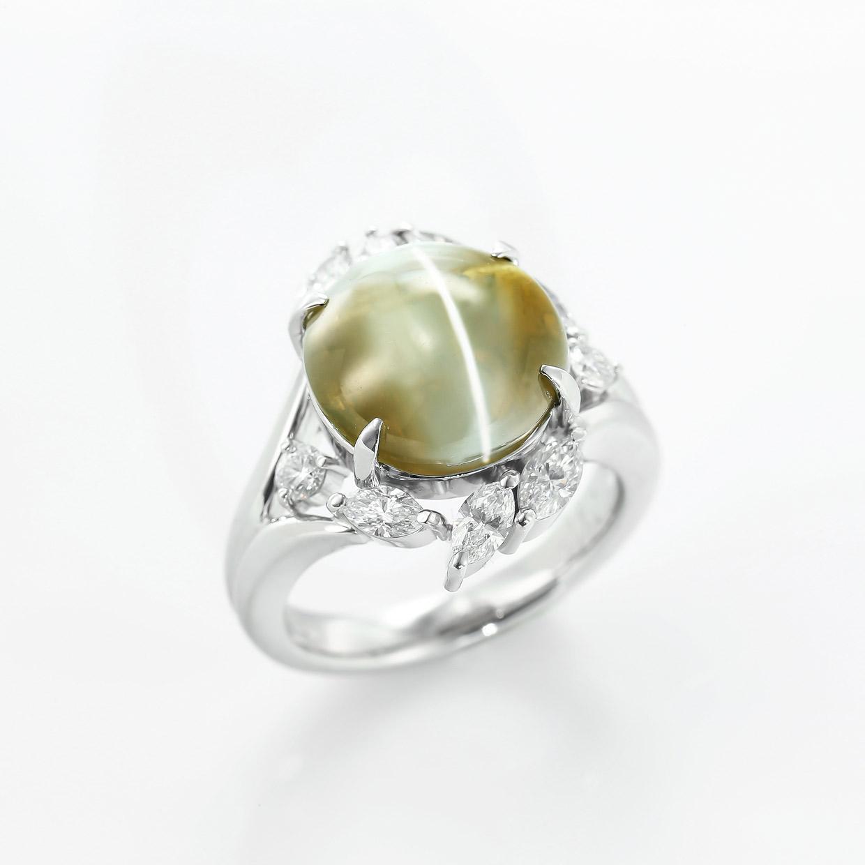 キャッツアイとダイヤモンドのプラチナリング1