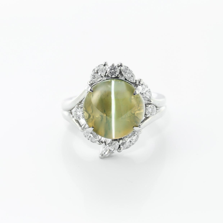 キャッツアイとダイヤモンドのプラチナリング2