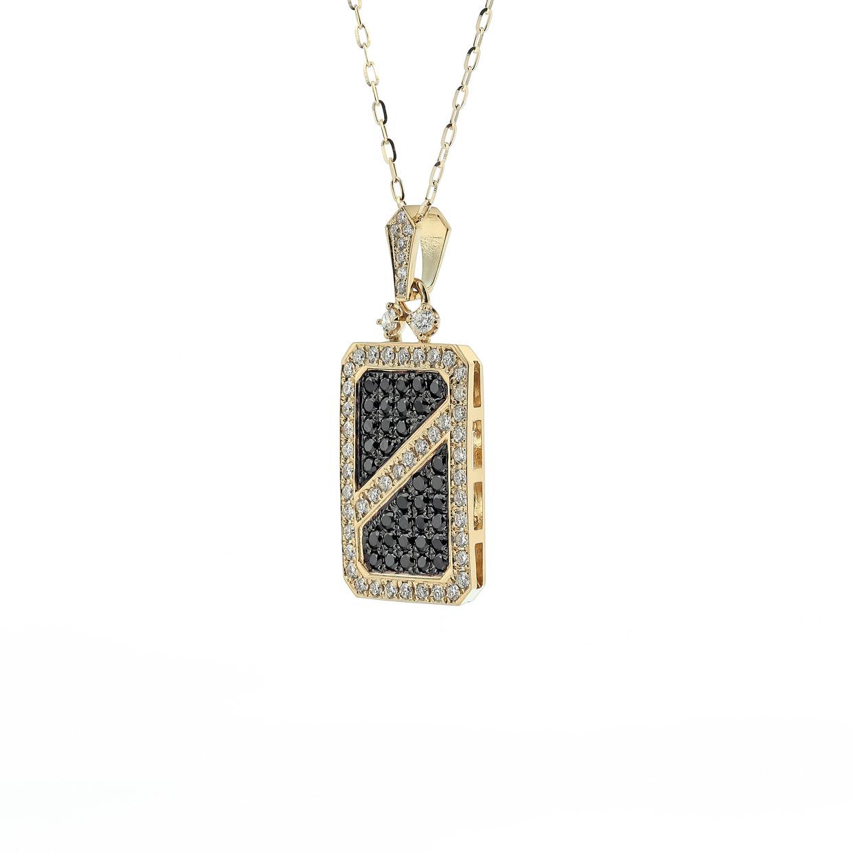 ダイヤモンド入りブラックダイヤモンドのK18ペンダント1