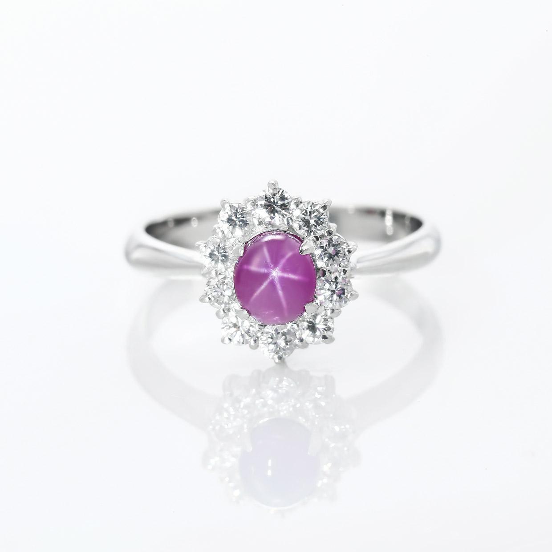 パープル色のスターサファイアのダイヤモンドリング 01