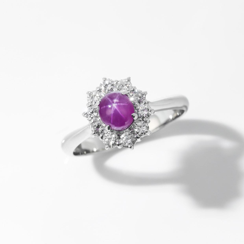 パープル色のスターサファイアのダイヤモンドリング 02