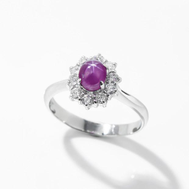 パープル色のスターサファイアのダイヤモンドリング 04