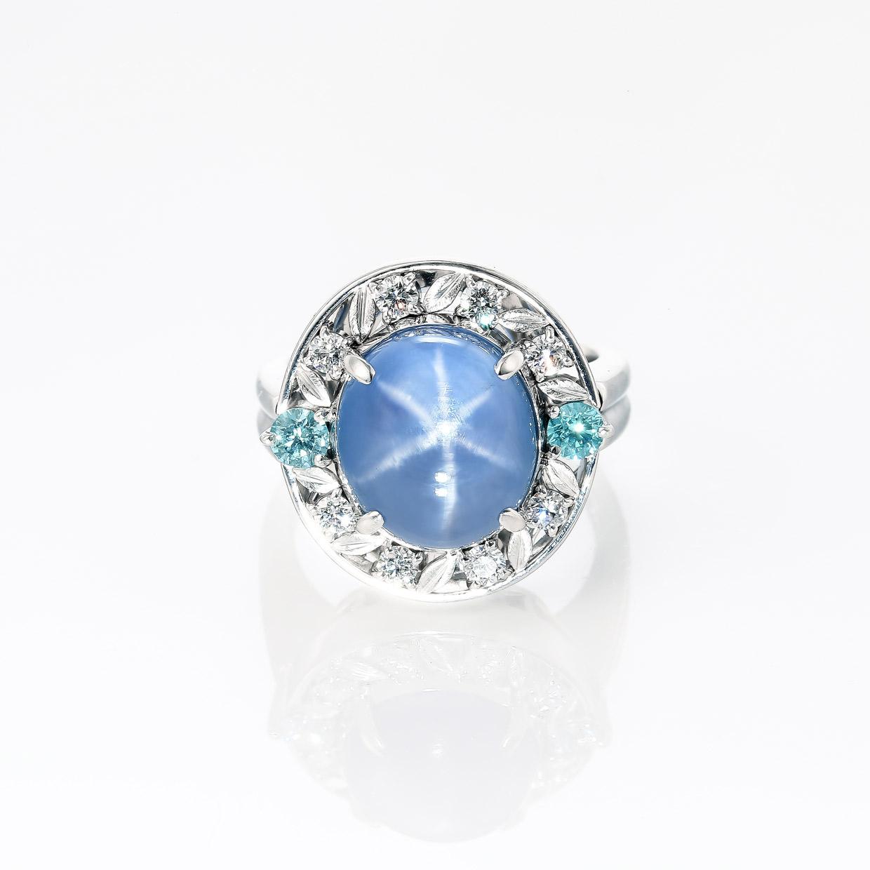 スターサファイアとアクアマリンのダイヤモンドリング 01
