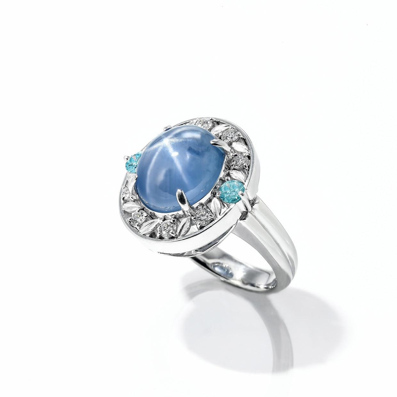 スターサファイアとアクアマリンのダイヤモンドリング 02